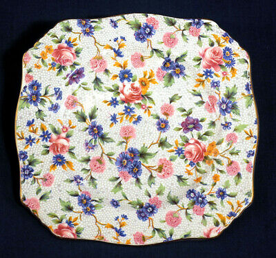 """Royal Winton Grimwades China Old Cottage Chintz Square Bread + Butter Plate 6"""""""