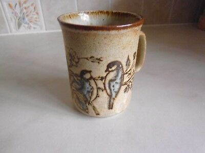 Vintage Dunoon pottery mug showing blue tits