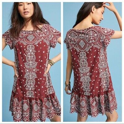 60a8c10b158d Anthropologie Heavily Embroidered Eyelet Ynez Tunic Dress L NEW By Bone  Feather
