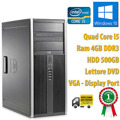 PC COMPUTER TOWER DESKTOP RICONDIZIONATO HP QUAD CORE i5 4GB 500GB WINDOWS 10