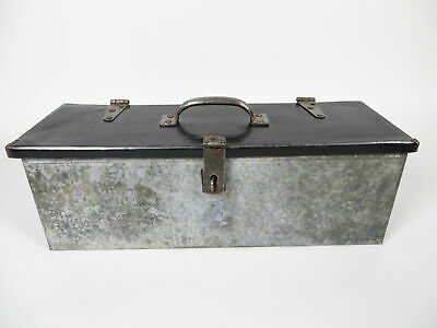 Antique/Vintage Handmade Custom Galvanized Steel Toolbox w/Stanley USA Handle