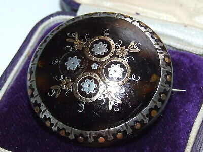 Superb Antique c1870 Victorian Gold & Silver Set Pique Brooch Beautiful Example