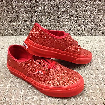 Vans Kids Shoes Authentic (Shimmer) Red