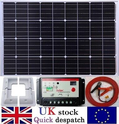 100w 120w Solar Panel + Charger Controller + Cable fuse & battery clips +Bracket