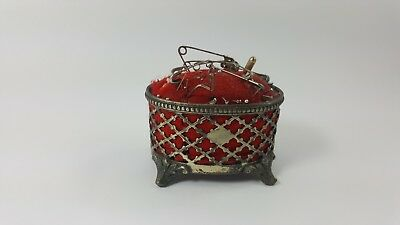 PIN CUSHION VICTORIAN SILVER PLATED FOOTED Filigree Basket James Dixon & Sons