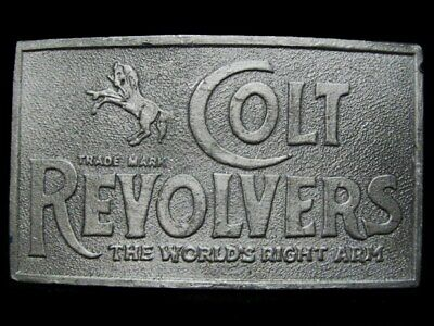 KE25140 VINTAGE 1970s **COLT REVOLVERS** THE WORLD'S RIGHT ARM PEWTER BUCKLE