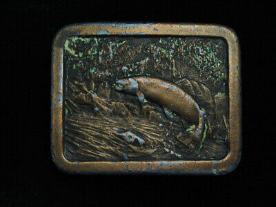 Pl31155 Vintage 1977 **Trout Jumping Up Stream** Fishing Commemorative Buckle