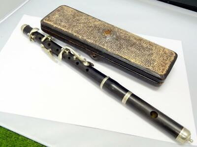 Antique WOODEN PICCOLO FLUTE 6 KEY WOODWIND INSTRUMENT TAPERED in FITTED CASE