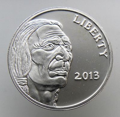 1 OZ .999 FINE SILVER ROUND Liberty 2013 Indian Head Buffalo BU nice