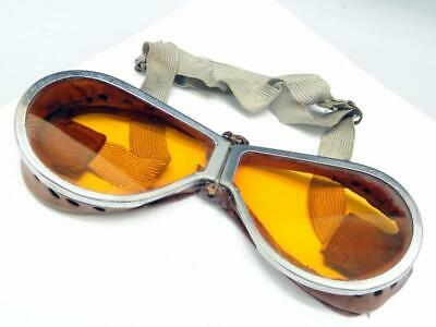 PERIOD WWII GOGGLES BRITISH MILITARY ANTI GLARE w/ LAMINATED AMBER SAFETY LENSES