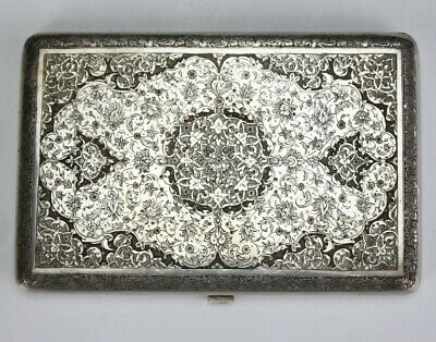 Persian Middle Eastern Sterling Chased Floral Scroll Tobacco Cigarette Box BNF