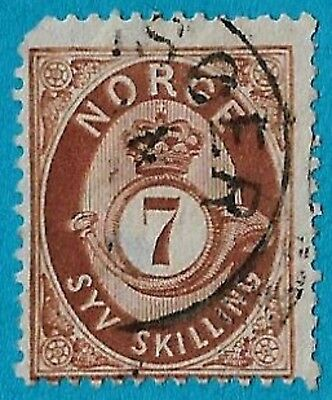 + 1873 Norway Scandinavian Arms Crest Crown Post Horn Shaded #21 A5 7s used