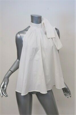 81c036a66904b4 Apiece Apart Tie Neck Top Medina White Cotton Size 2 Sleeveless Blouse NEW