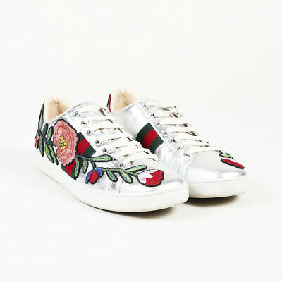 ca9b925571e GUCCI FLORAL EMBROIDERED Leather