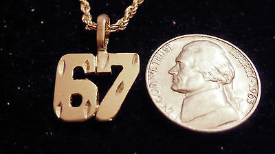bling gold plated game fashion jewelry number 67 pendant charm hip hop necklace