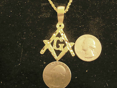 bling gold plated myth MEN`S mason masonic knight templar PENDANT charm necklace