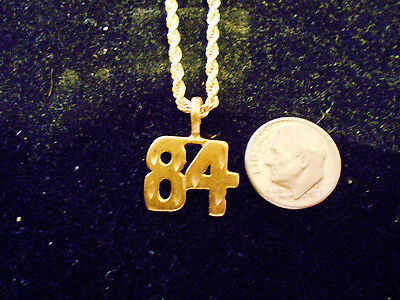 bling gold plated game fashion jewelry number 84 pendant charm hip hop necklace