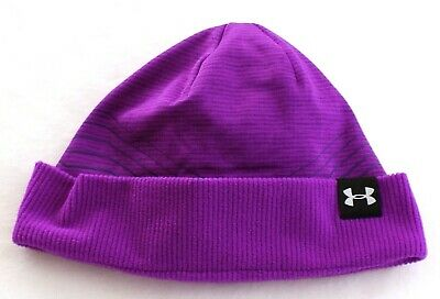 565e92f6c UNDER ARMOUR COLDGEAR Reactor Purple Rave Beanie Youth Girl's One Size NWT