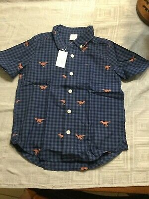 Baby gap boys dinosaur button down  denim top new with tags size 4 years