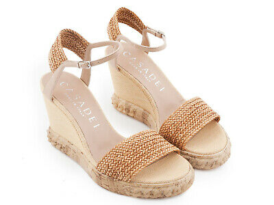 f524417801b0 Casadei women s high heels wedges sandals in leather and straw Size UK 6 -  IT 39