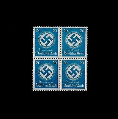 GERMANY THIRD REICH OFFICIAL Mi 140 BLOCK OF 4 STAMPS with Swastika