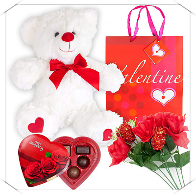 Valentines Day Grine Set Basket | 12 Inches Teddy Bear Plush (Color May Vary)