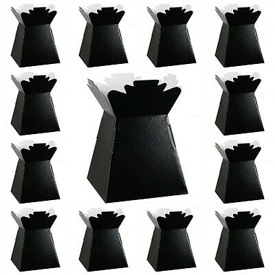 BLACK Living Vases Florist Bouquet Box Flower Plant Aqua Sweet Boxes Gift UK