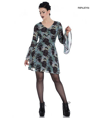 Hell Bunny Alchemy Goth Floaty Witch Mini Dress AFTER DEATH Teal Green All Sizes