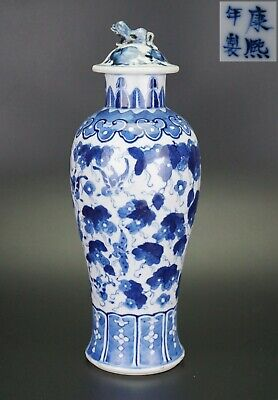 LARGE Antique Chinese Blue and White Butterfly Vase & Lid KANGXI 19th C 32.5cm