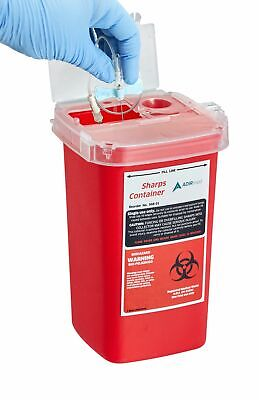 AdirMed Sharps Container Biohazard Needle Disposal Container 1 Quart