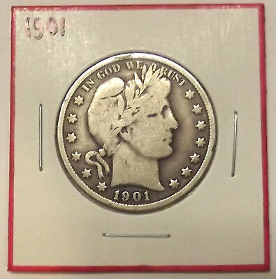 1901 BARBER HALF DOLLAR 50c SILVER COIN w/ FULL (BUT NOT STRONG) LIBERTY