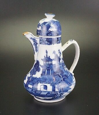 LARGE Antique Chinese Blue and White Porcelain Coffee Tea Pot Jug Lid 18th C