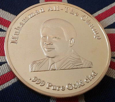 Muhammad Ali Gold Coin World Boxing Champion 0.999 Pure Gold Clad Olympic Medal