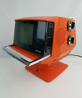 Mid-Century 1970s Sharp Portable Orange TV Space Age Design Model 3S 111R works