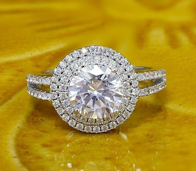 2ct Near White Moissanite Forever Wedding Ring Round Cut 14k White Gold Fn