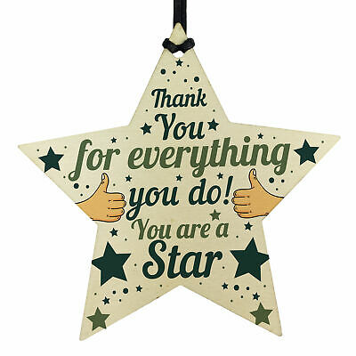 Wooden Star Plaque Thank You Gift For Colleague Volunteer Teacher Keepsake Gift