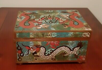 Fine Antique Chinese Cloisonne Footed Trinket Box with Hinged Lid Dragon Design