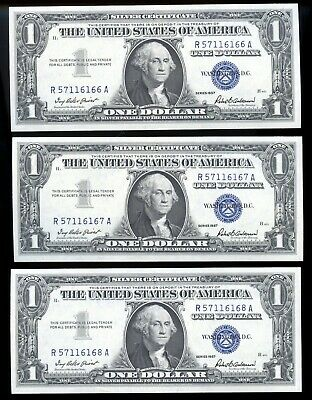 Uncirculated 1957 United States Silver Certificate $1 Consecutive Notes OW698