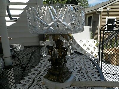 Crystal antique fruit bowl centerpiece with marble base metal cherub prism Italy
