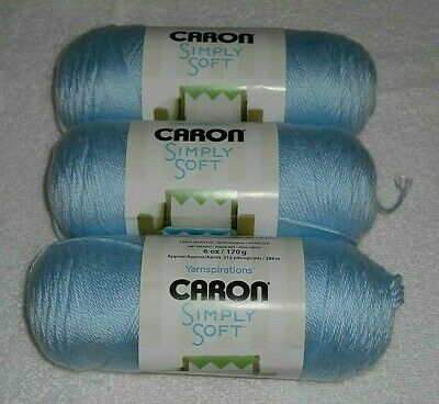 Caron Simply Soft Yarn Lot Of 3 Skeins Cool Green #9770 6 oz.