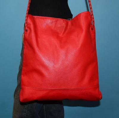 Vintage BOTTEGA VENETA Large Red Leather Shoulder Tote Purse Bag Made in  ITALY 3cc7e5ccf36ae