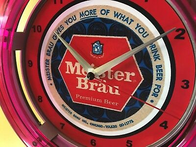 Meister Brau Chicago Beer Bar Advertising Man Cave Neon Wall Clock Sign