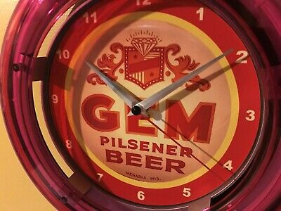 Gem Wisconsin Beer Bar Advertising Man Cave Neon Wall Clock Sign