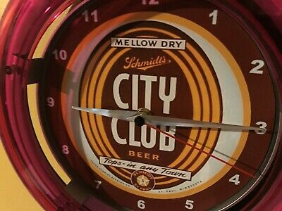 Schmidt's City Club Beer Bar Advertising Man Cave Neon Wall Clock Sign