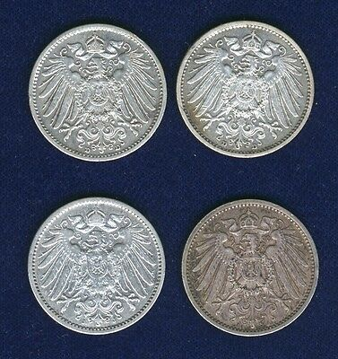 Germany Empire  1 Mark Silver Coins: 1901-J, 1904-D, 1908-D, & 1914-A Lot Of (3)