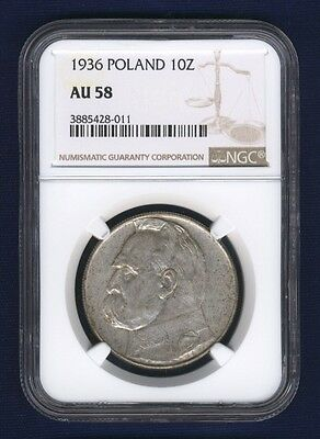 Poland  1936  10 Zlotych Silver Coin, Warsaw Mint, Ngc Certified Au-58