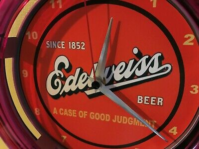 Edelweiss Beer Bar Advertising Man Cave Neon Wall Clock Sign