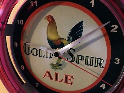 Gold Spur Ale Rooster Cock Beer Bar Advertising Man Cave Neon Wall Clock Sign