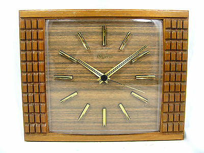 Typical 60´s design DUGENA # JUNGHANS teak wood wall clock / Wand Uhr working