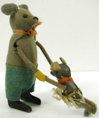 RARE VTG Schuco Hopsa Wind Up Dancing Mouse W/ Baby US Zone Germany 1930's Toy